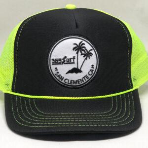 369 Surf San Clemente Palms Trucker Hat Black/Neon/White
