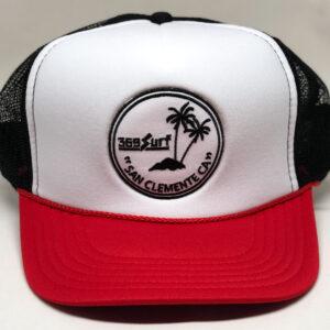 369 Surf San Clemente Palms Trucker Hat Black/Red/White